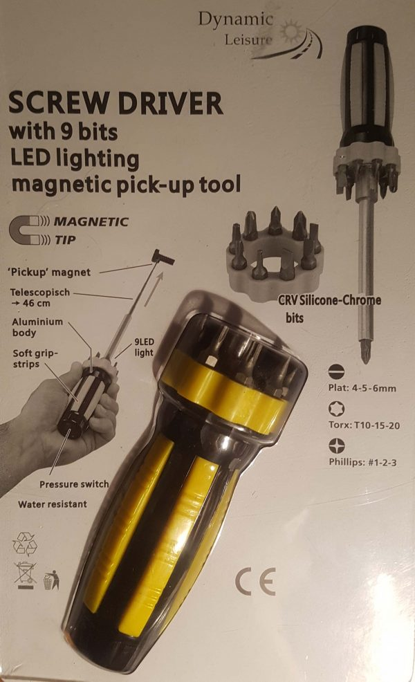9 Bit Screw Driver with LED light and magnetic pick-up tool