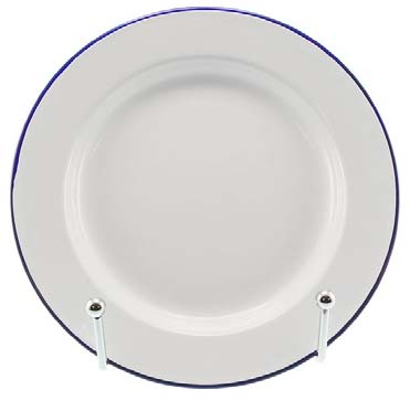 26cm Enamel Dinner Plate- White with Blue Rim