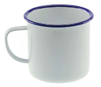 500ml Enamel Mug- White with Blue Rim