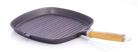 25cm Square Cast Iron Grill Skillet with Wooden Handle